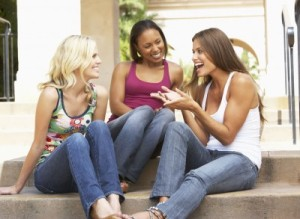 women laughing and talking together after substance abuse counseling in broward county florida